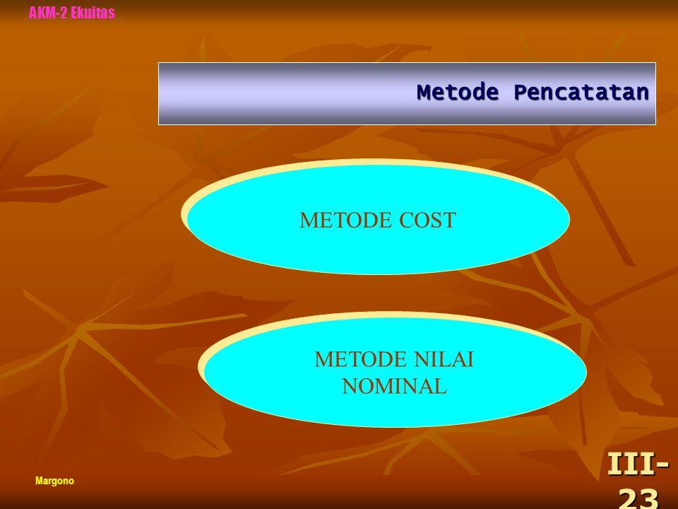 III-23 Metode Pencatatan METODE COST METODE NILAI NOMINAL