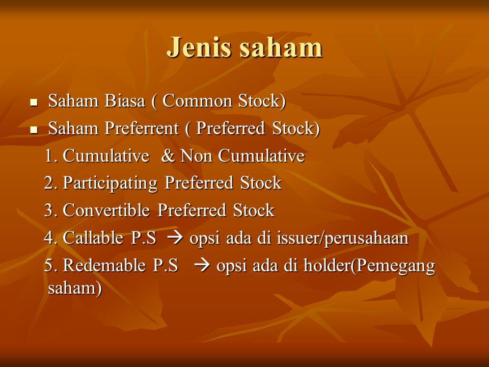 Jenis saham Saham Biasa ( Common Stock)
