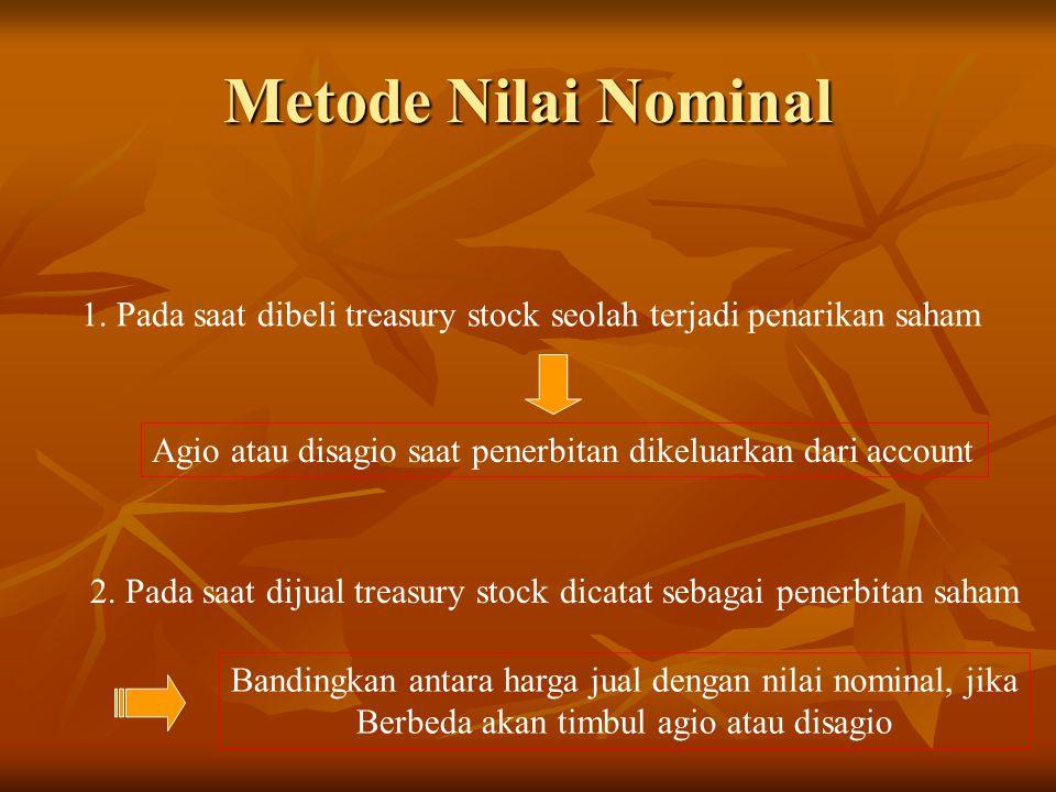 Metode Nilai Nominal 1. Pada saat dibeli treasury stock seolah terjadi penarikan saham. Agio atau disagio saat penerbitan dikeluarkan dari account.
