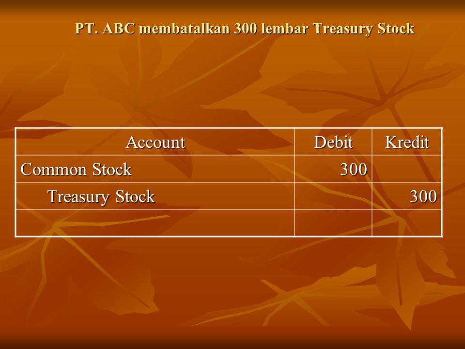PT. ABC membatalkan 300 lembar Treasury Stock