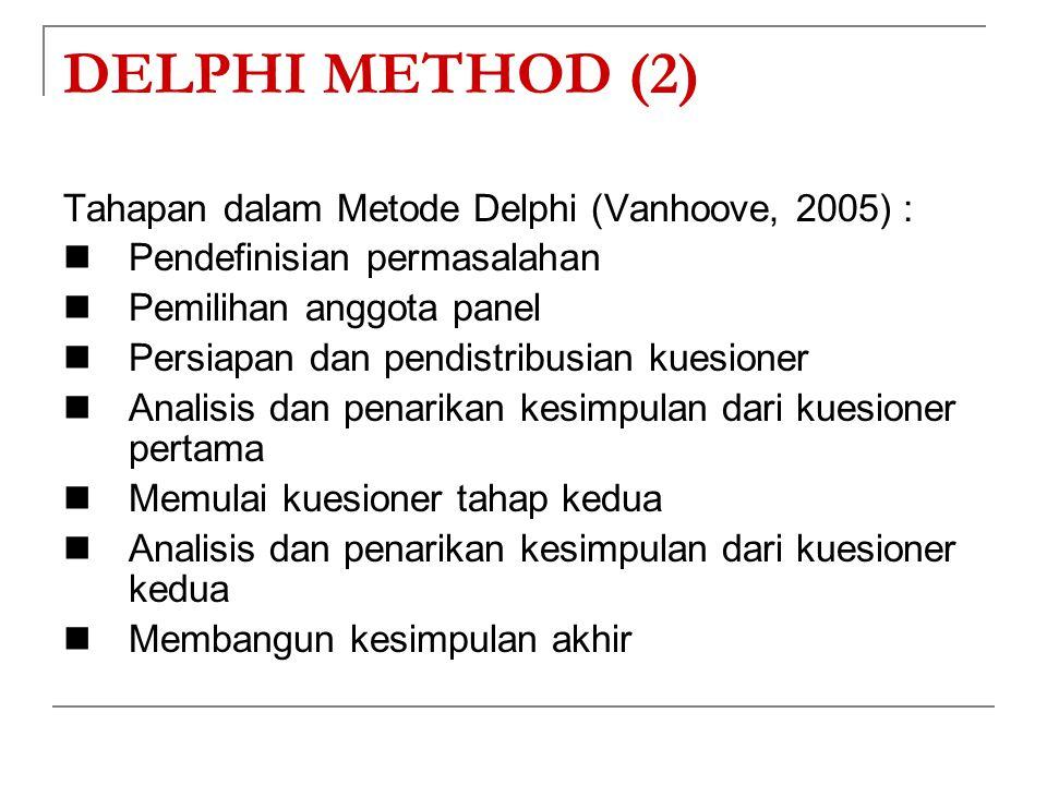 DELPHI METHOD (2) Tahapan dalam Metode Delphi (Vanhoove, 2005) :