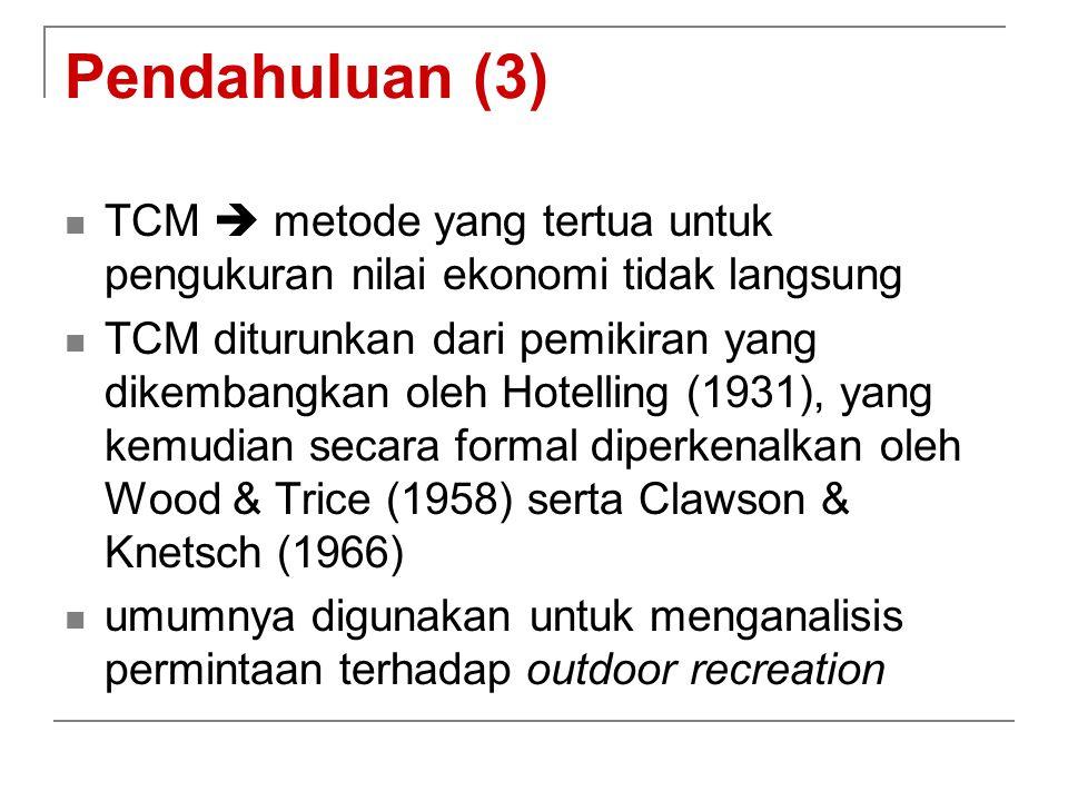 Pendahuluan (3) TCM  metode yang tertua untuk pengukuran nilai ekonomi tidak langsung.