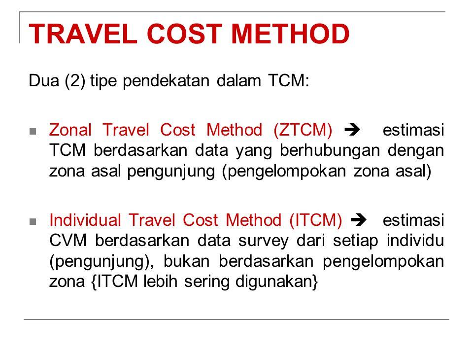 TRAVEL COST METHOD Dua (2) tipe pendekatan dalam TCM: