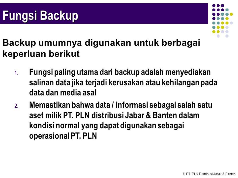 Fungsi Backup Backup umumnya digunakan untuk berbagai