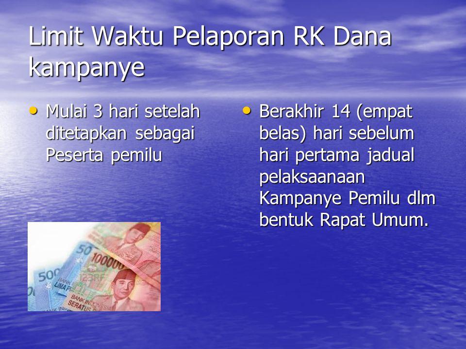 Limit Waktu Pelaporan RK Dana kampanye