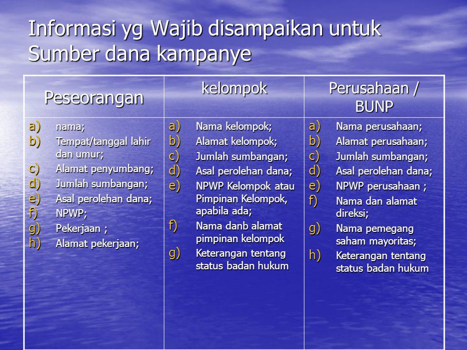 Informasi yg Wajib disampaikan untuk Sumber dana kampanye
