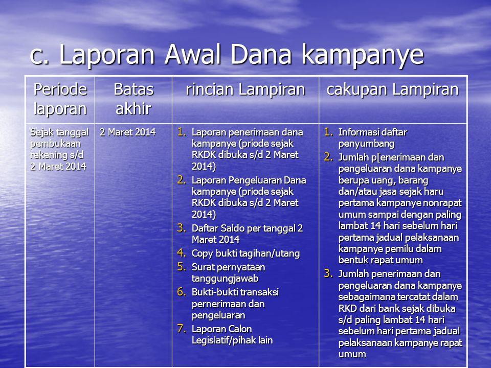c. Laporan Awal Dana kampanye