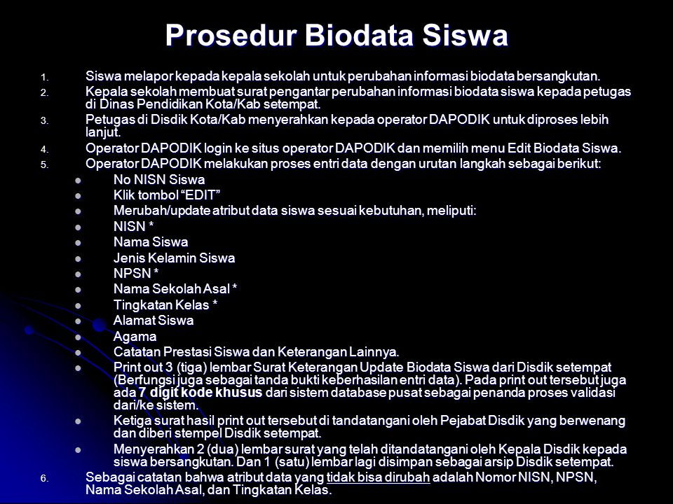 Prosedur Biodata Siswa