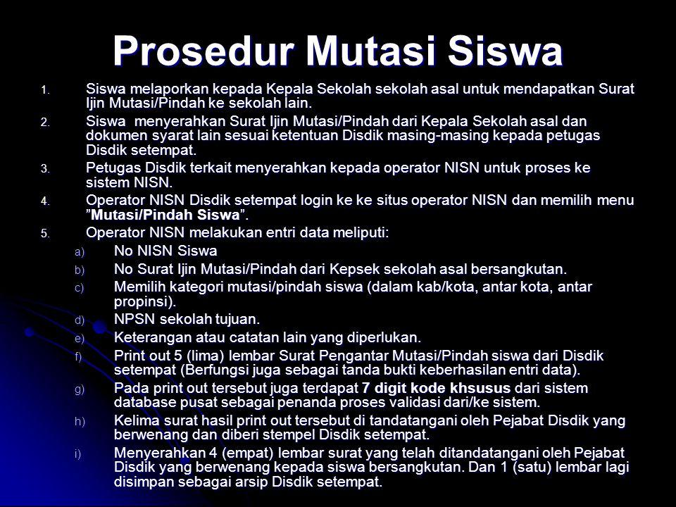 Prosedur Mutasi Siswa Siswa melaporkan kepada Kepala Sekolah sekolah asal untuk mendapatkan Surat Ijin Mutasi/Pindah ke sekolah lain.