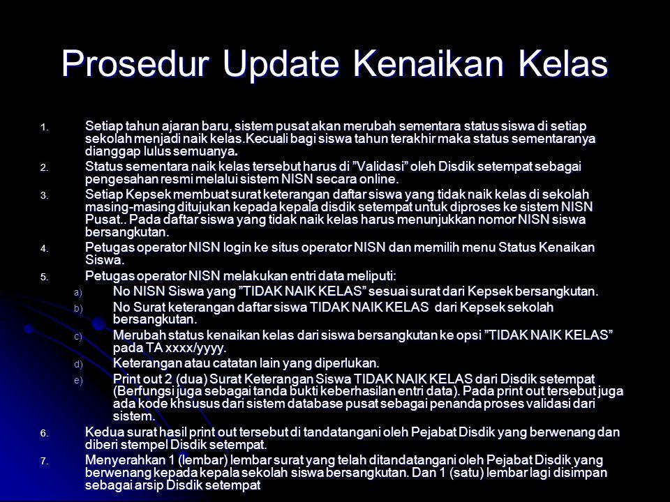 Prosedur Update Kenaikan Kelas