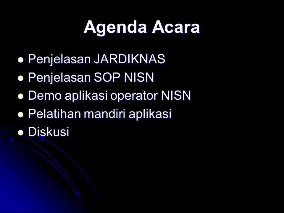 Agenda Acara Penjelasan JARDIKNAS Penjelasan SOP NISN