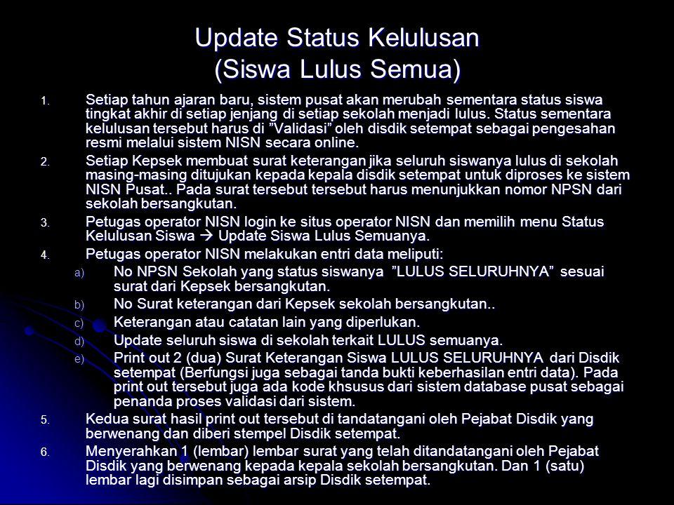 Update Status Kelulusan (Siswa Lulus Semua)