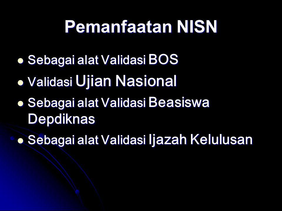 Pemanfaatan NISN Sebagai alat Validasi BOS Validasi Ujian Nasional