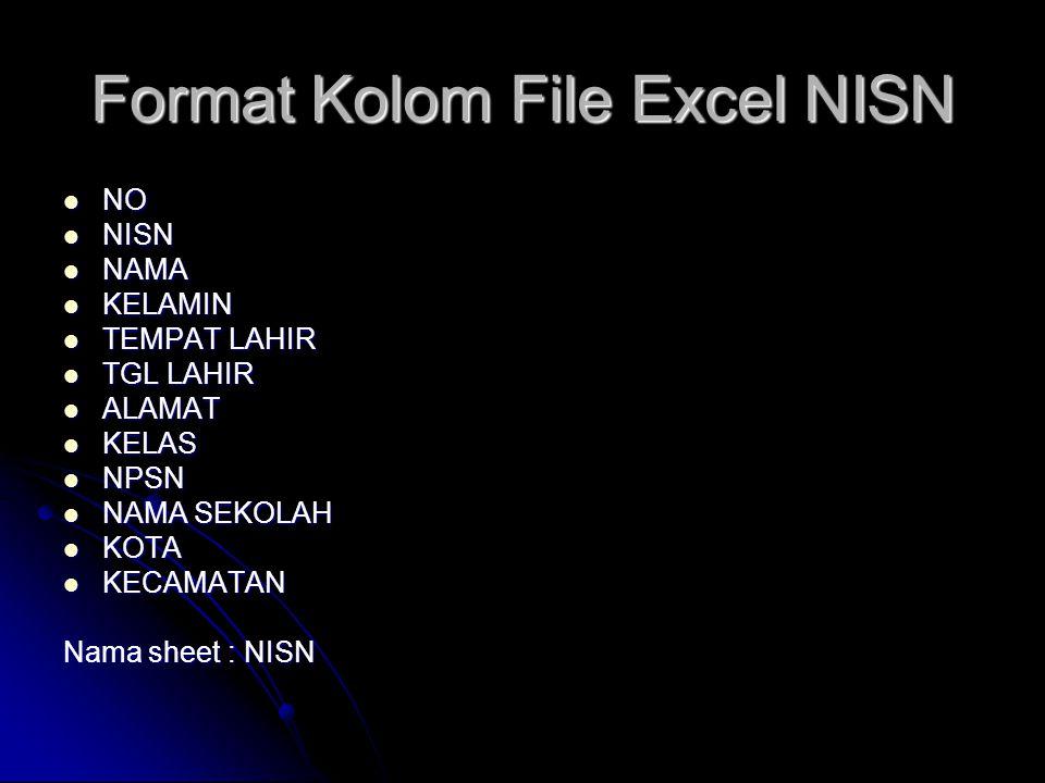 Format Kolom File Excel NISN
