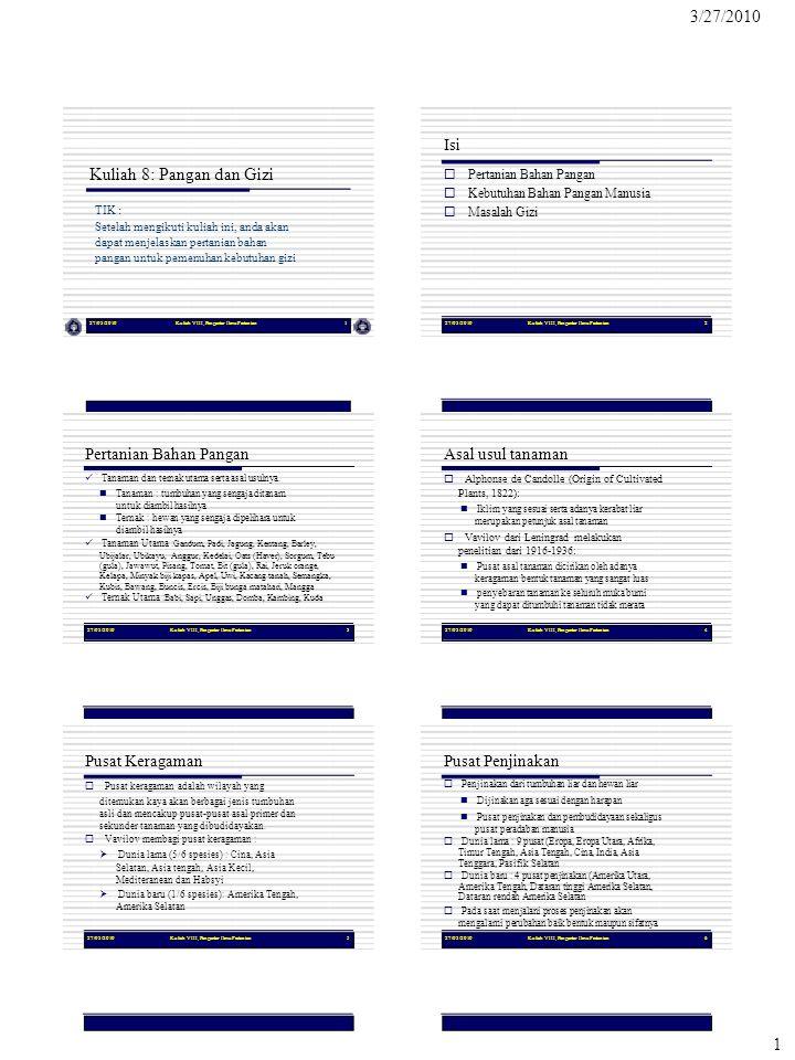 3/27/2010 1 Isi Kuliah 8: Pangan dan Gizi TIK : Pertanian Bahan Pangan