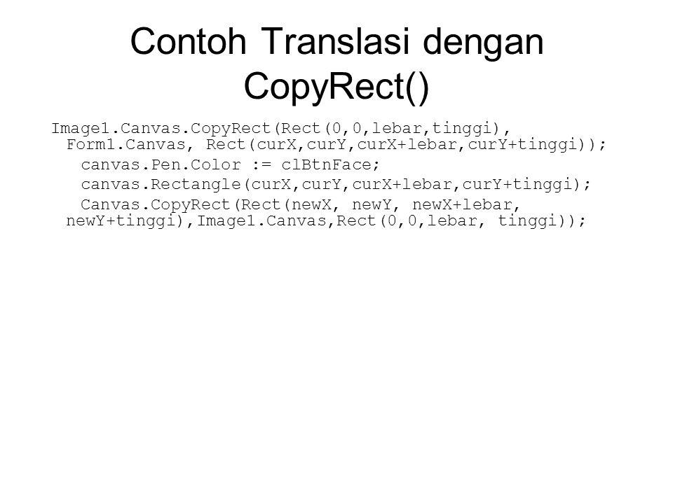 Contoh Translasi dengan CopyRect()