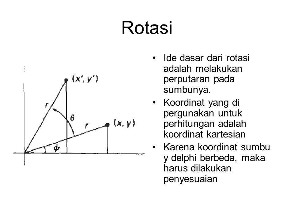 Rotasi Ide dasar dari rotasi adalah melakukan perputaran pada sumbunya. Koordinat yang di pergunakan untuk perhitungan adalah koordinat kartesian.
