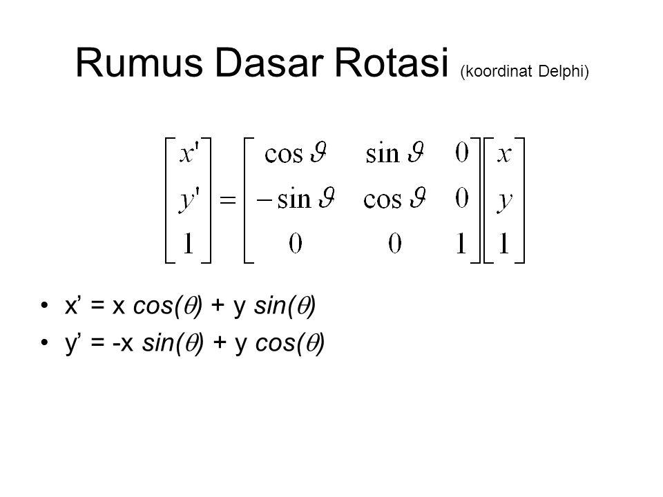 Rumus Dasar Rotasi (koordinat Delphi)