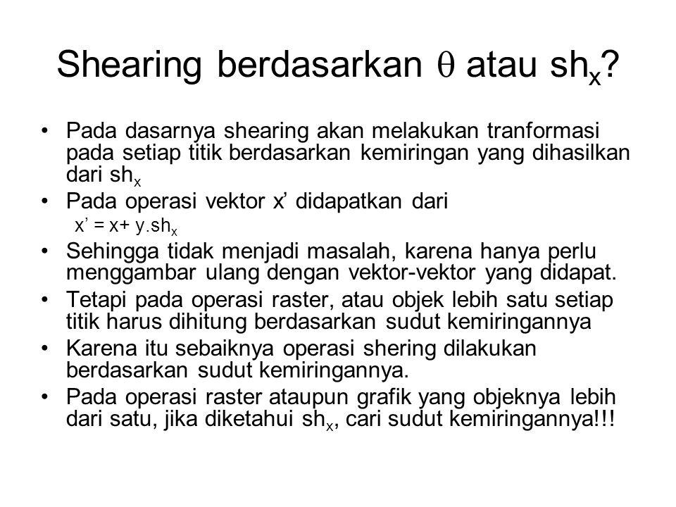 Shearing berdasarkan  atau shx