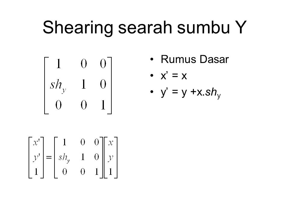 Shearing searah sumbu Y