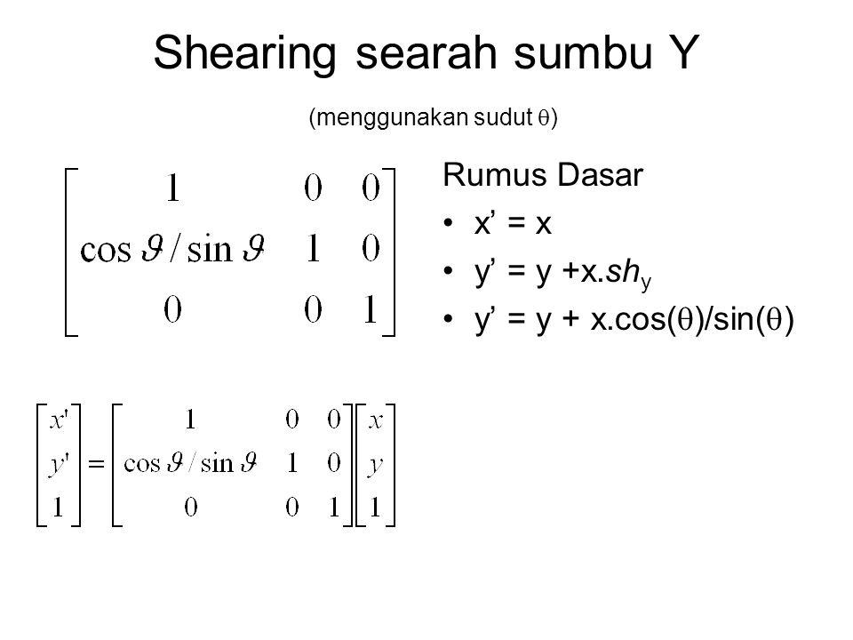 Shearing searah sumbu Y (menggunakan sudut )