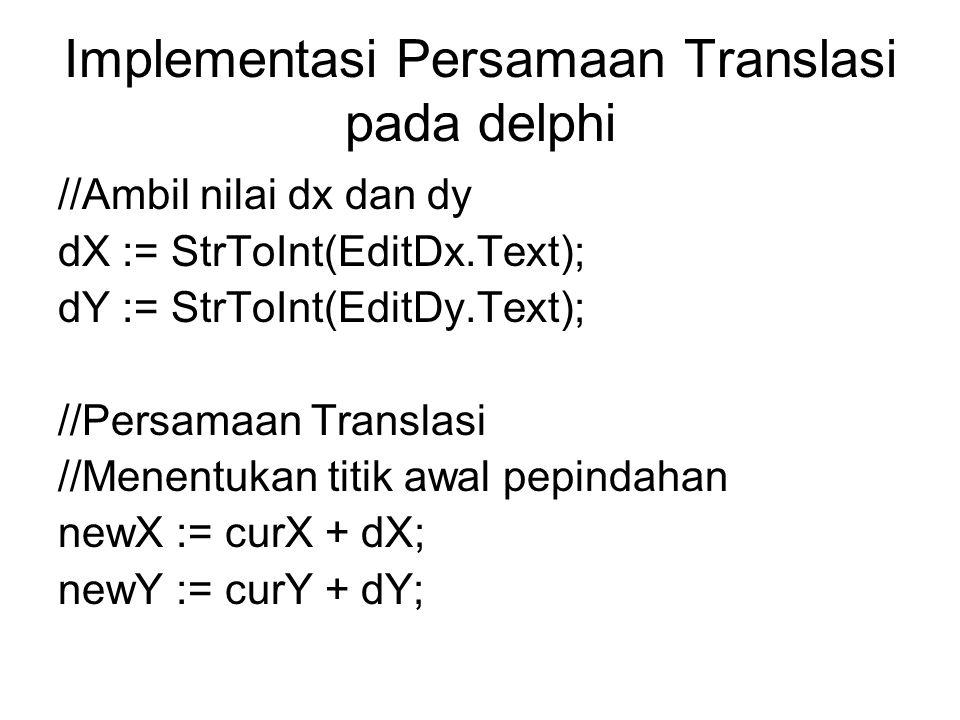 Implementasi Persamaan Translasi pada delphi