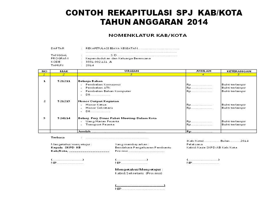 CONTOH REKAPITULASI SPJ KAB/KOTA