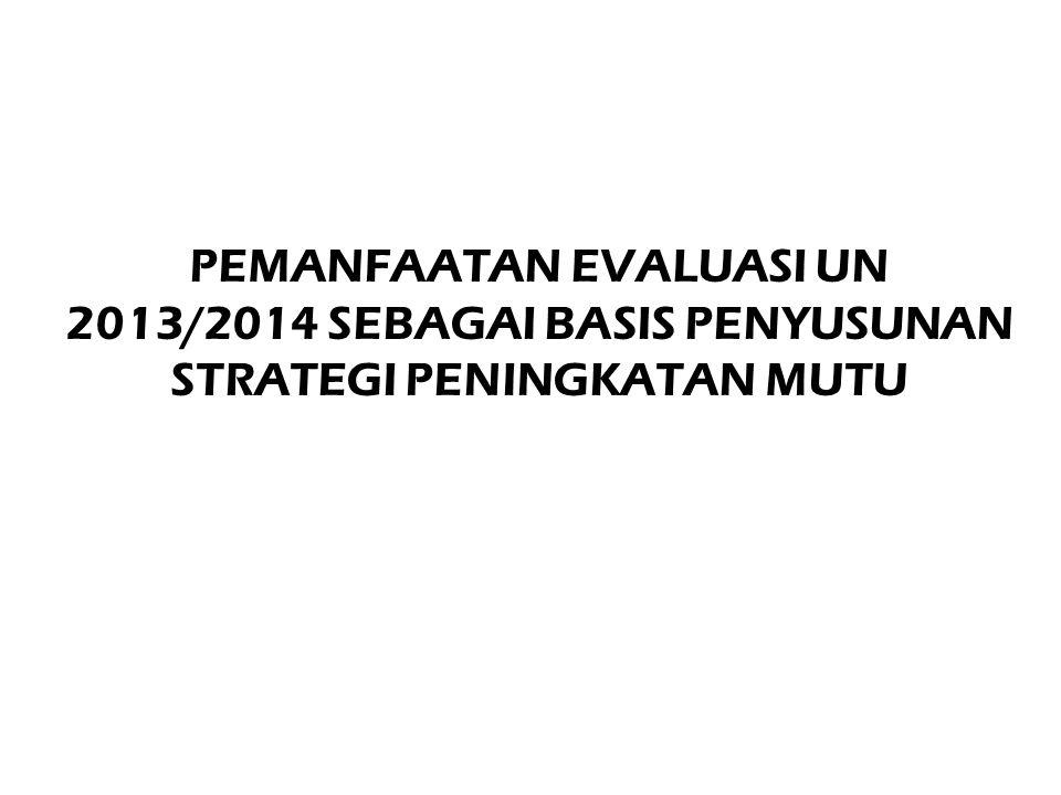 PEMANFAATAN EVALUASI UN 2013/2014 SEBAGAI BASIS PENYUSUNAN STRATEGI PENINGKATAN MUTU
