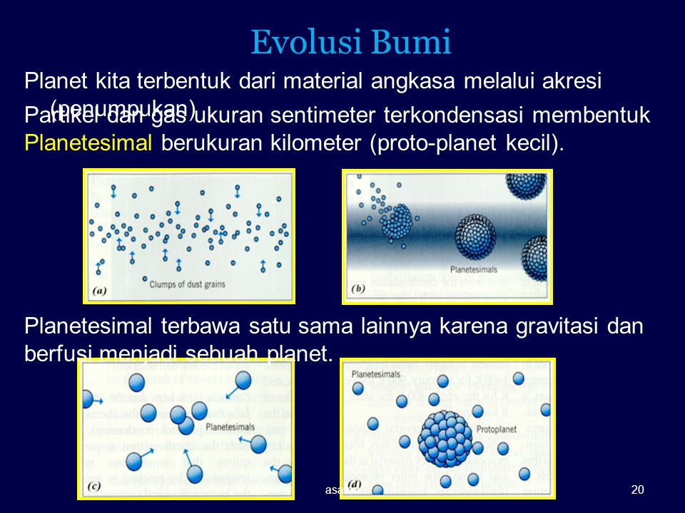 Evolusi Bumi Planet kita terbentuk dari material angkasa melalui akresi (penumpukan)