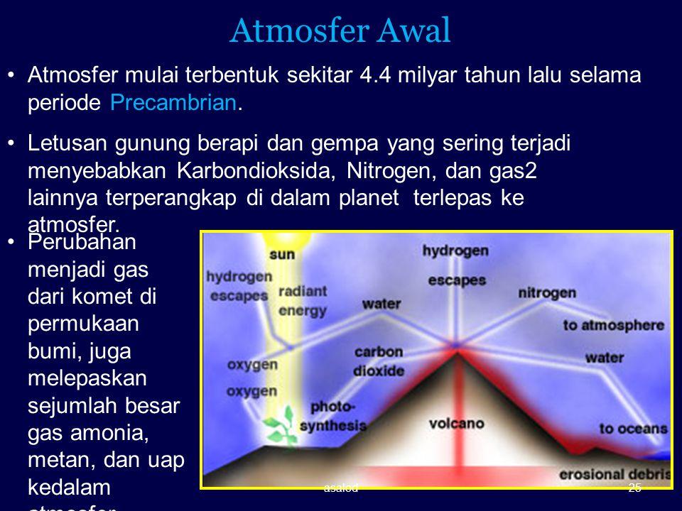 Atmosfer Awal Atmosfer mulai terbentuk sekitar 4.4 milyar tahun lalu selama periode Precambrian.