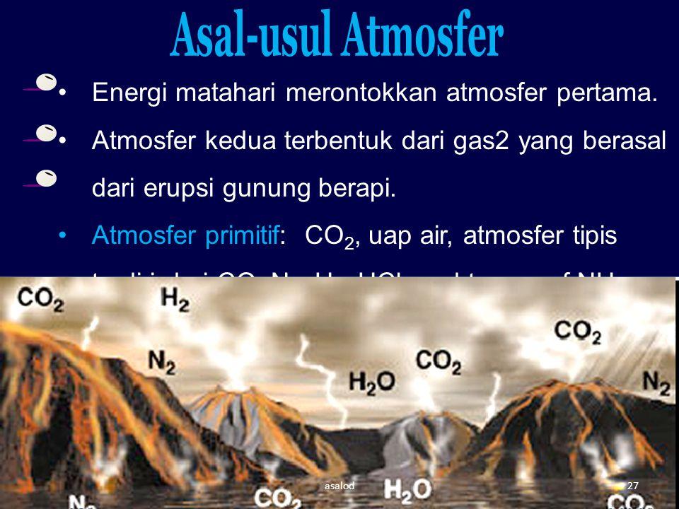 Asal-usul Atmosfer Energi matahari merontokkan atmosfer pertama.