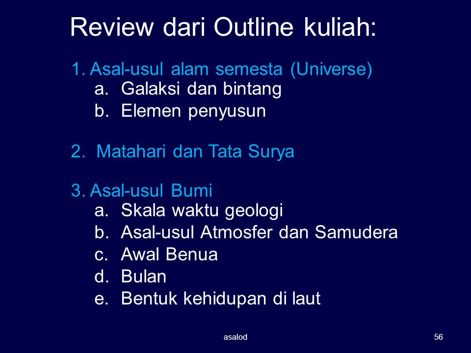 Review dari Outline kuliah: