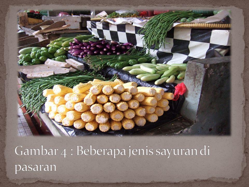 Gambar 4 : Beberapa jenis sayuran di pasaran