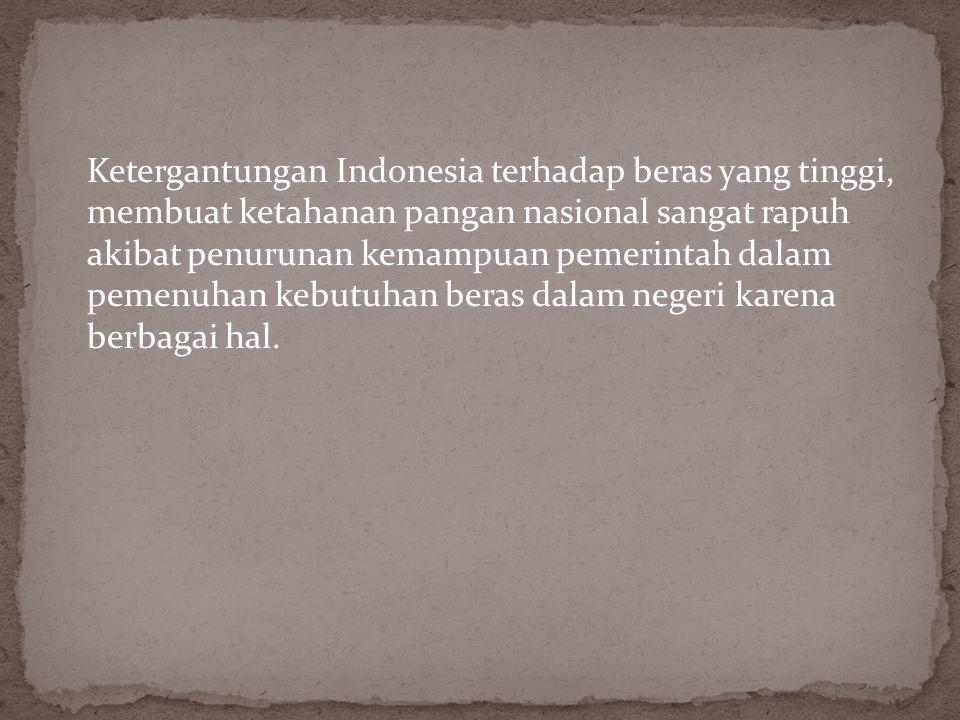 Ketergantungan Indonesia terhadap beras yang tinggi, membuat ketahanan pangan nasional sangat rapuh akibat penurunan kemampuan pemerintah dalam pemenuhan kebutuhan beras dalam negeri karena berbagai hal.