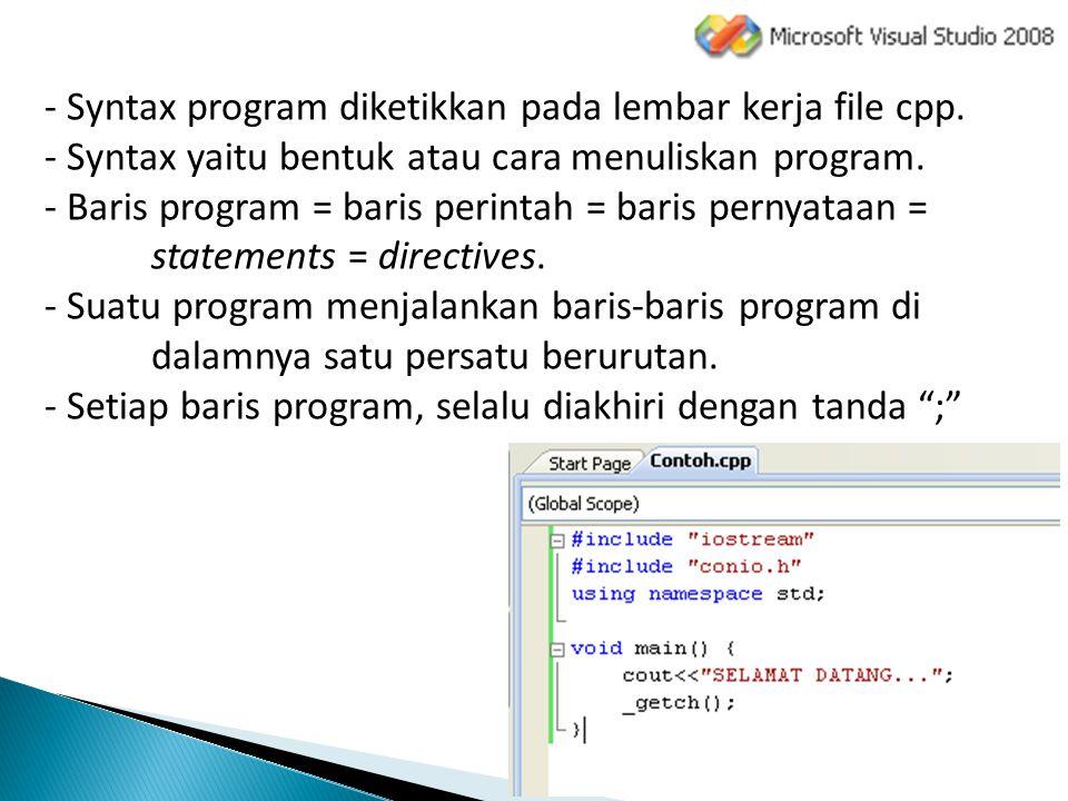 Syntax program diketikkan pada lembar kerja file cpp.