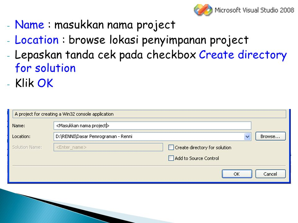 Name : masukkan nama project