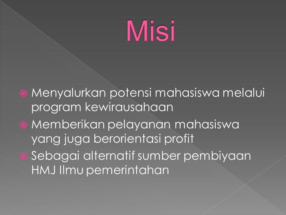 Misi Menyalurkan potensi mahasiswa melalui program kewirausahaan