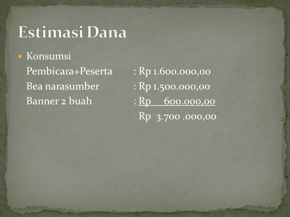 Estimasi Dana Konsumsi Pembicara+Peserta : Rp 1.600.000,00