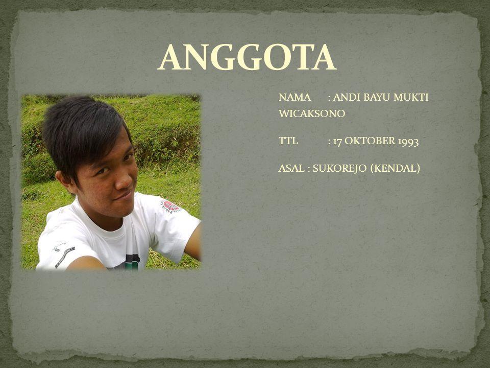 ANGGOTA NAMA : ANDI BAYU MUKTI WICAKSONO TTL : 17 OKTOBER 1993