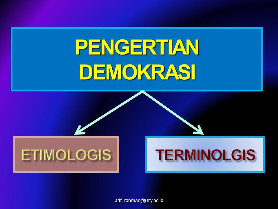 PENGERTIAN DEMOKRASI ETIMOLOGIS TERMINOLGIS arif_rohman@uny.ac.id