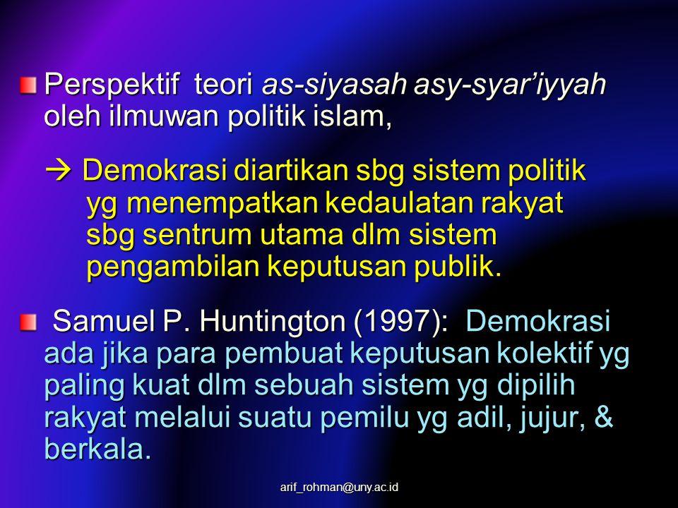 Perspektif teori as-siyasah asy-syar'iyyah oleh ilmuwan politik islam,