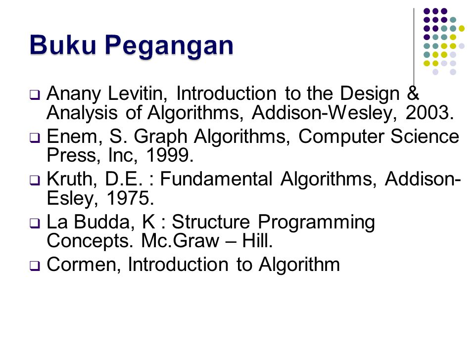 Buku Pegangan Anany Levitin, Introduction to the Design & Analysis of Algorithms, Addison-Wesley, 2003.