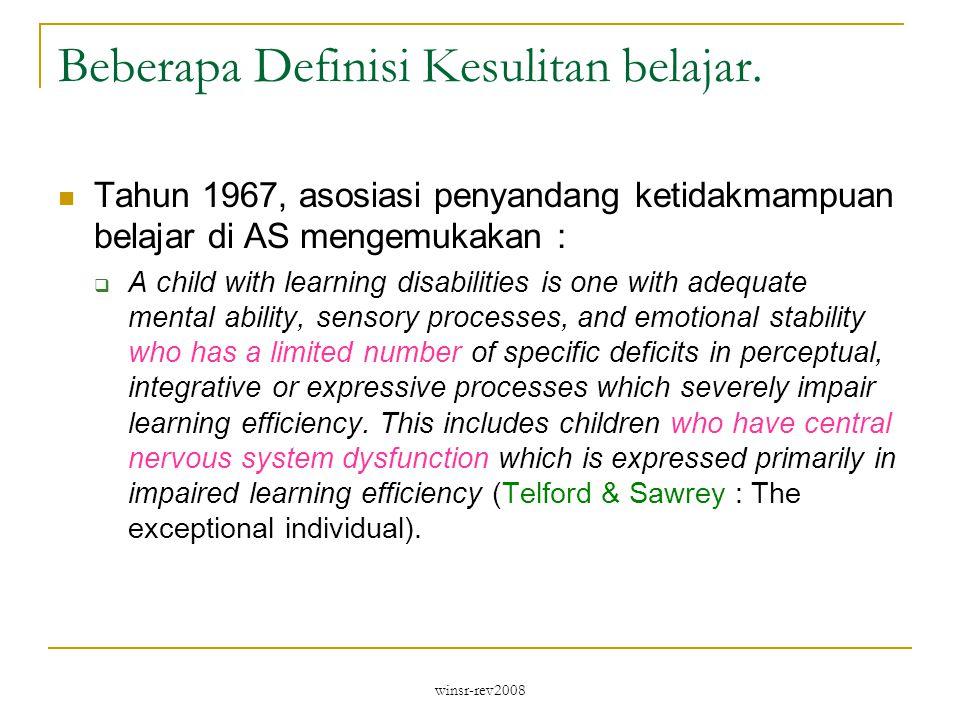 Beberapa Definisi Kesulitan belajar.