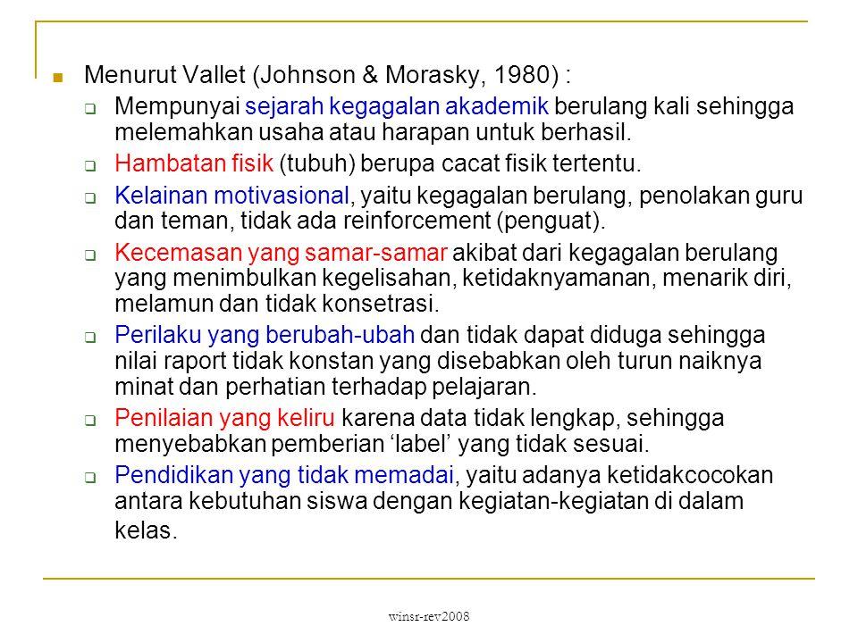 Menurut Vallet (Johnson & Morasky, 1980) :
