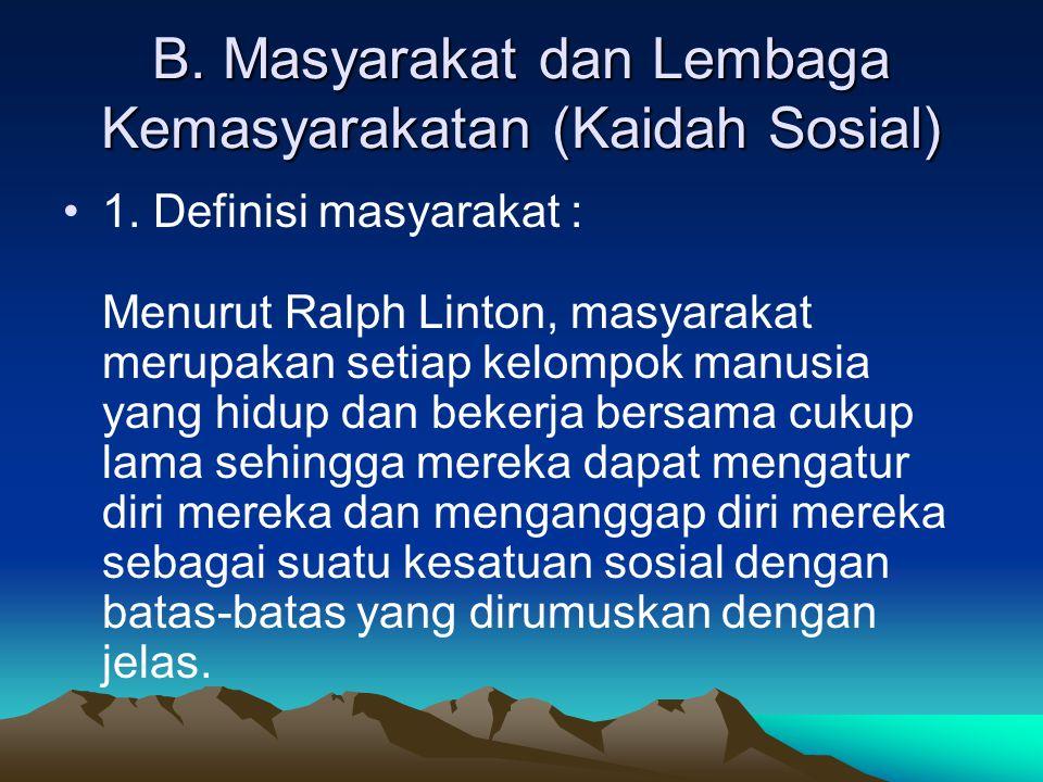 B. Masyarakat dan Lembaga Kemasyarakatan (Kaidah Sosial)
