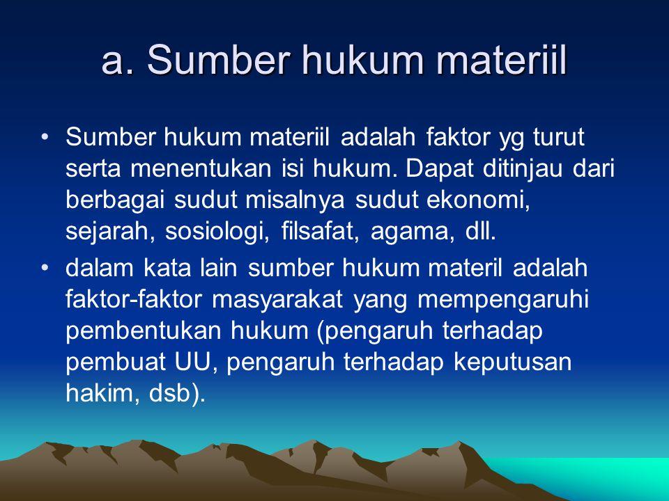a. Sumber hukum materiil