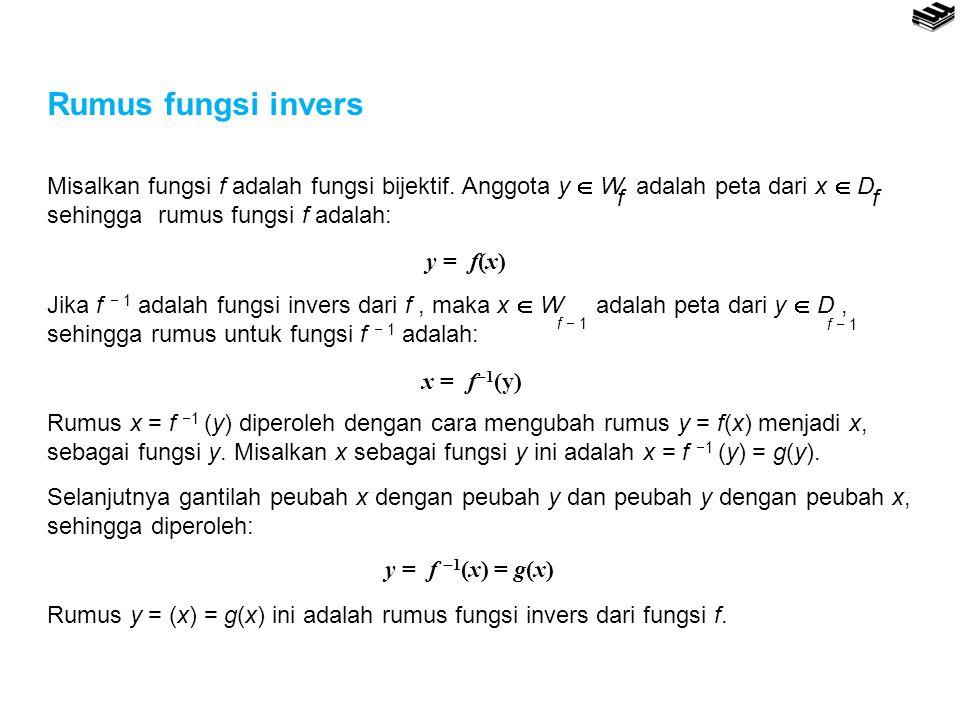 Rumus fungsi invers y = f(x) f. f  1. x = f1(y) y = f 1(x) = g(x)