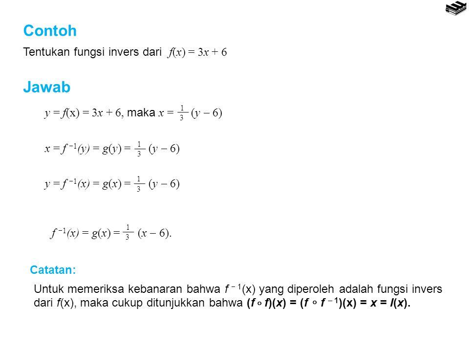 Contoh Jawab Tentukan fungsi invers dari f(x) = 3x + 6