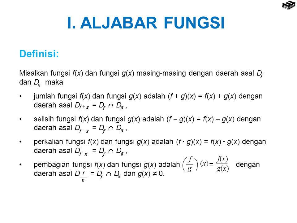 I. ALJABAR FUNGSI Definisi: