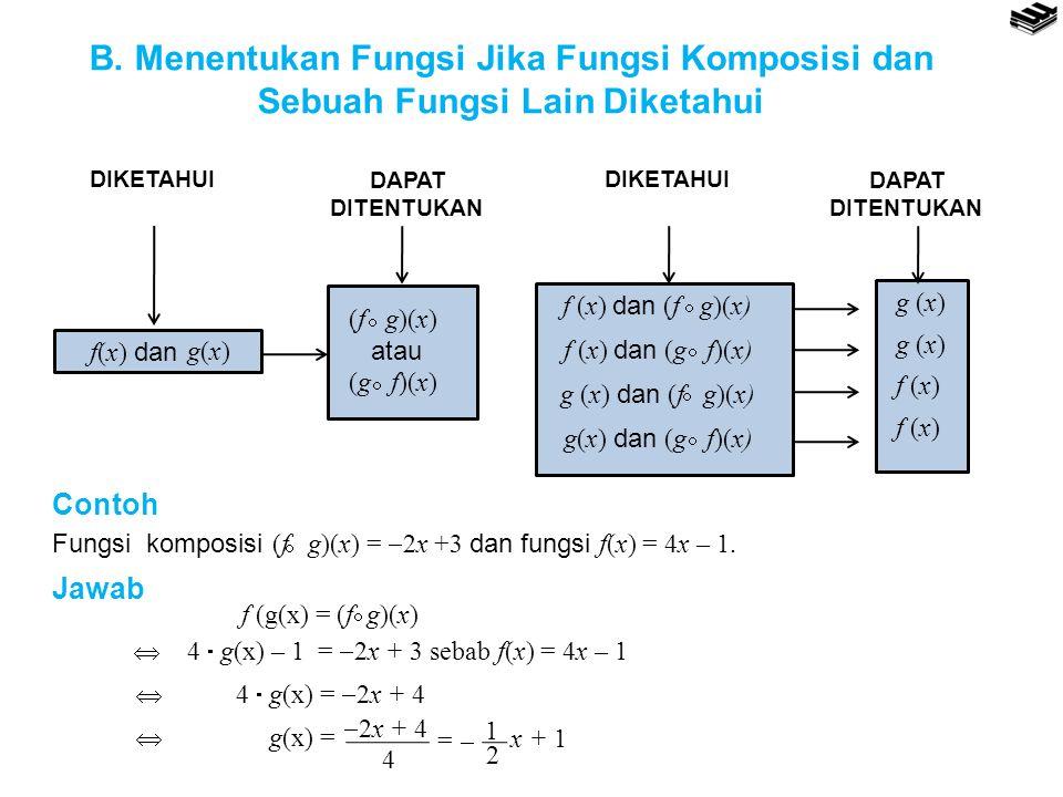 B. Menentukan Fungsi Jika Fungsi Komposisi dan Sebuah Fungsi Lain Diketahui